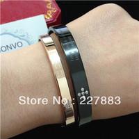 Top Quality Women's/Men's Love Style stainless steel Bracelet Bangle Rose Gold, Black LOVER Bracelet with Rhinestone