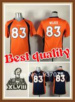 2014 Super Bowl XLVIII Youth Wes Welker Jersey #83 Kids American Denver Football Jerseys Orange/Navy Free Shipping