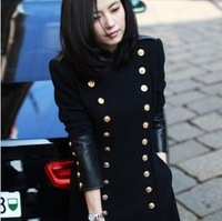 Double breasted long design stand collar woolen outerwear slim overcoat black women's fashion winter