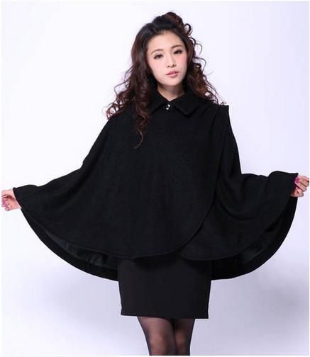 Winter&Autumn 2014 Hot Sale New Stylish Fashion Pure Color Woolen Cape Coat Black/Red Women Fashion Bat Sleeved Coat(China (Mainland))