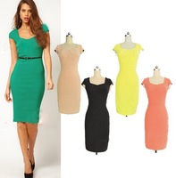 Dress Square Neck England Women commuter temperament short-sleeved dress package hip Slim Dress(without belt)