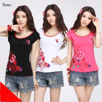 3 Color Optional New Arival Chinese National Style Embroider O-neck Tees For Women SP522