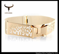 2014 New Elastic Metal Waist Belt  Bling Gold Plate slim Simple fashion Belt With hollow metal buckle Drop Shipping Wholesale