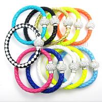 12Pcs/Lot Wholesale Hot PU Leather Bracelet & Disco Ball Crystal Magnetic Clasp Bracelet Free Shipping 01