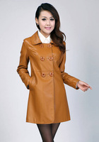 New Fashion 2014 Women's PU Faux Leather Trench Coat Suede Outwear for women Spring Autumn Black,Yellow,Blue M-4XL,Free Shipping