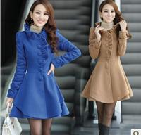 free shipping Female woolen overcoat medium-long skirt woolen material outerwear