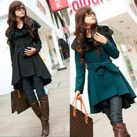 free shipping Elegant slim fur collar double breasted woolen overcoat