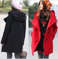 free shipping Large lapel single breasted straight medium-long long-sleeve woolen women overcoat