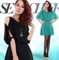 free shipping Spring clothing slim waist sexy strapless elegant loose chiffon short-sleeve dress