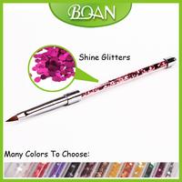 Hot Sale 10pcs/ Lot Acrylic Handle Within Shine Glitters Pure Kolinsky Acrylic Nail Brush Size 4