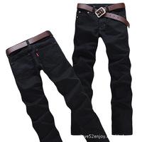 2013 New Fashion Slim Fit Brand Men's Jeans Black Color Big Size Denim Trousers Straight Pants Men + Free Shipping