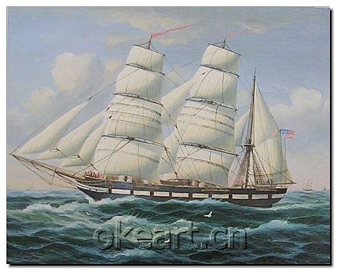 Ondas Residence Riviera grátis Ocean Shipping nova mão Modern pintados sobre tela 20x24 cm vela pintura a óleo do navio 0018(China (Mainland))