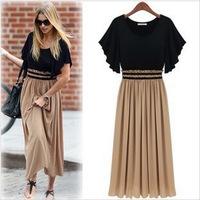 2014 New Fashion European Style Lady's Short Sleeve Long Chiffon Dresses  Plus Size Women casual Dresses + Free Shipping