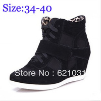 2014 New Fashion Woman Shoes Top Quality Women Sneakers Casual Height Increasing Wedges Women Shoes Size 34-40 Free Shipping