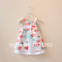 2014 new spring and summer children girls dress sleeveless flowers princess 1-8T high quality princess dress fashion
