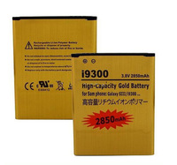 2pcs/lot New 2850mAh High Capacity Gold Replacement Rechargeable Battery for Samsung Galaxy SIII S3 S 3 III I9300 I 9300