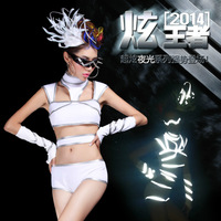 Sexy female costume ds lead dancer clothing neon costumes twirled service  h20