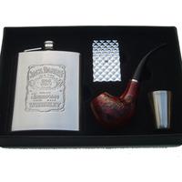 7 stainless steel hip flask metal lighter wood smoking pipe smoking set wine gift