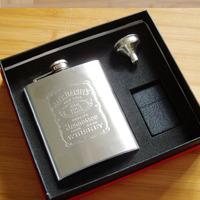 7 jack daniels stainless steel hip flask portable kerosene lighter combination wine gift set