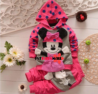 [1st baby mall] Retail 1set spring baby sport suit cartoon Minnie girls clothing set kids hoodie+long pants girls coat tracksuit