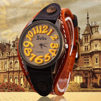 women quartz exaggerated numbers leather strap large  dial face watch different color  free shipping