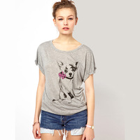 Cute Dog Bow Print t-shirt gray cotton round neck short sleeve casual T-shirt for women free shipping Q65