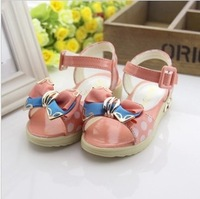2 double children shoes female child sandals metal bow polka dot cow muscle outsole