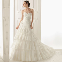 2014 new arrival sweet heart strapless slim fit  big ruffle train lace women wedding dress DX