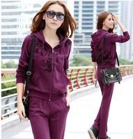 Fashion long sleeve sports suit for women 2014 spring clothing set casual sweatshirt suit zipper jacket+pants 2pcs tracksuit
