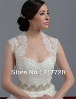 Sexy Backless Short Lace Wedding Jacket Bridal Wrap With Buttons For Wedding Dress Free Shipping
