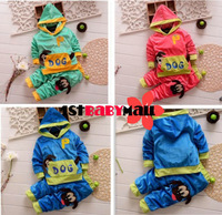 [1st baby mall] Retail 1set baby boys cartoon Dog velvet fleece clothing set kids sport suit boys hoodie coat long pants