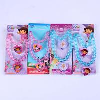 Fashion jewelry cute Minnie Mouse /Dora / Princess  jewelry sets children kid's necklace bracelet  wholesale  PAS-3067