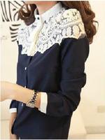 2014 New Style Women Lace Patchwork Blouse Shirts Cape-style Chiffon Casual Shirt Stitching Lady Clothing WS007