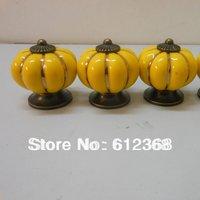 10pcs Free Shipping Ceramic Pumpkin Shape Door Drawer Dresser Pull Knob Cabinet Cupboard Handle-Yellow