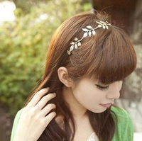 Min order is $10(mix order)Fashion british  vintage romantic olive leaves ribbon hair  jewelry hairwear headbands women TS120