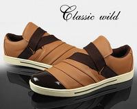 2014 New Men's Casual Sneaker Fashion Spring Patchwork Shoe Men's Damping PU Slip-on Shoe Flat Size 39-44,Drop Shipping,R113