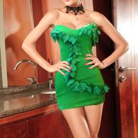 High Fashion Womens Red Sexy Nightclub Dress Hot Clubwear Vivid Leaves Adorned Pub Party Bodycone Strapless Mini Dresses 2014