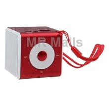 Red Mini Multi-function LCD Screen Display Speaker with Remote Control/FM Radio/TF Card/U Disk/Calendar/Alarm Clock/ Recording