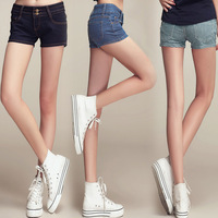 2014 thin straight jeans pants shorts breasted mid waist women's pants