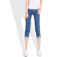 2014 summer thin female jeans pencil pants capris cotton elastic slim butt-lifting knee length trousers