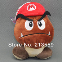 Free Shipping New Cute Super Mario Bros 6 inch Plush Toy Soft Doll Goomba With Mario Hat Plush Doll Retail
