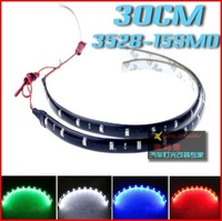 HOTSALE 10pcs/lot 30cm 15 SMD 3528 White / Red / Blue Color Waterproof Flexible LED Strip 30cm Length Car Strip #fe