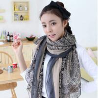 Autumn and winter women's paris yarn scarf  national trend design long silk scarf cape dual fluid 3pcs/lot Free shipping