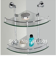 Free Shipping Wholesale And Retail Promotion Fashion Corner Wall Mounted Bathroom Shower Caddy Cosmetic Shelf Dual Glass Tier