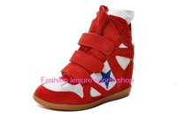 Original Isabel Marant Genuine Leather Height Increasing women Sneakers red yellow rose women boots size36-41 Free Shipping