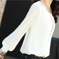 Women's autumn loose plus size long-sleeve chiffon shirt top basic shirt free shipping