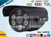 "Free shipping 2014 NEW 1/3"" SONY CCD HD 1000TVL Waterproof Outdoor security camera IR 100 meter CCTV Camera"