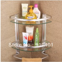 Free Shipping Wholesale And Retail Promotion Wall Mount Aluminium Bathroom Shower Cosmetic Glass Shelf Dual Tier W/Towel Bar