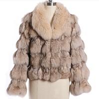2014 women's fox fur coat wool fur coat short design turn-down collar long-sleeve bag bondarenko WTP1