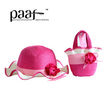 Paaf 2014scalloped female child bohemia color block flower strawhat bucket hats sunbonnet(China (Mainland))